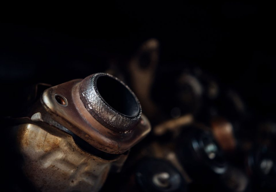 Closeup on a dirty engine part